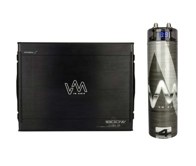 VM-SRA1800.2 + VM-SRCAP4.5 VM Audio SRA1800.2 1800W 2 Channel Amplifier with 4.5 Farad Capacitor