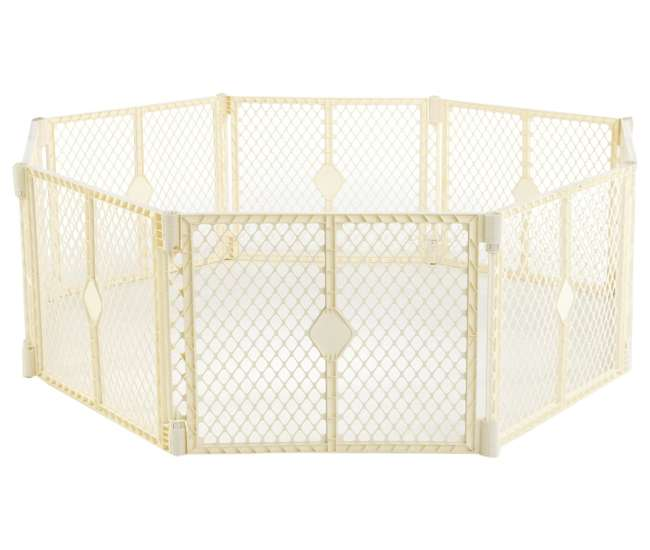 8779 + 8771 North States Superyard Ultimate 8-Panel Baby/Pet Gate & Play Yard, Ivory