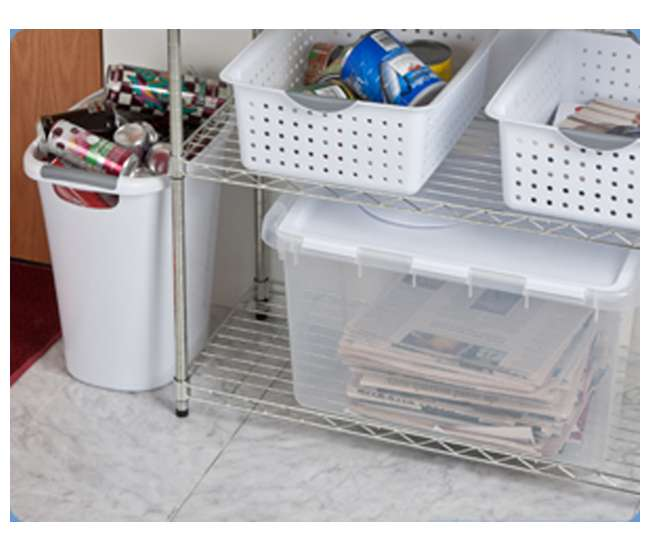 19148006 Sterilite 19148006 48 Quart Clear Hinged Lid Storage Box Tote with See Through Base