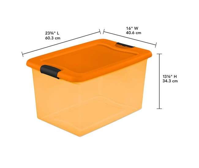 Sterilite 64 Quart Latching Storage Bin Orange 6 Pack 6 x