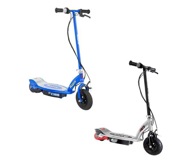 13125E-BK + 13111240 Razor Electric Motorized Kids Scooters, 1 Black & 1 Blue