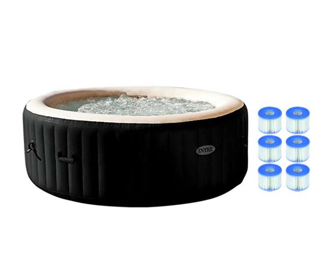 intex pure spa 4 person jet bubble deluxe hot tub with. Black Bedroom Furniture Sets. Home Design Ideas