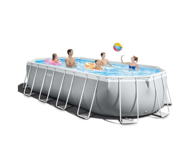 26797EH + 2 x 58868EP + 58821EP Intex Oval Pool w/ Inflatable Loungers and Cooler Float