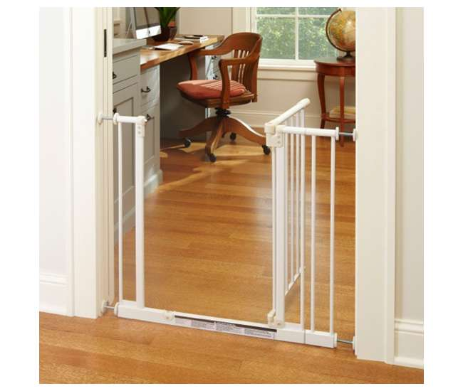 4910S + 4994 + 4995 North States Easy-Close Metal Baby Pet Safety Gate with 7 and 10.5-Inch Extensions