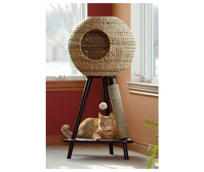 SF-416821 Sauder Furniture Natural Wicker Sphere Scratching Cat Tower | 416821