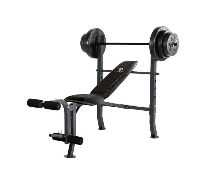 Marcy Standard Bench With 100 Lb Weight Set Home Gym Workout Equipment Md2082w Md 2082w