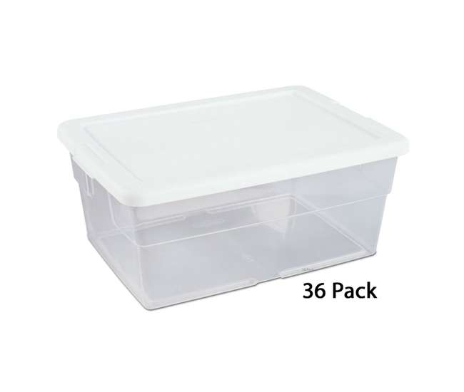 36 x 16448012 Sterilite 16 Quart Clear Stacking Storage Container Tub, 36 Pack