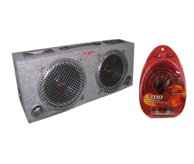 KIC100+XAK-1700 Xxx 2) 10-Inch Subwoofer Box 5-Inch Tweeters with Amp Kit