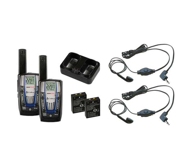 CXR875 + 2 x GA-EBM2Cobra CXR875 30 Mile 22 Channel FRS/GMRS Walkie Talkie 2-Way Radios (2) + Headsets (2)