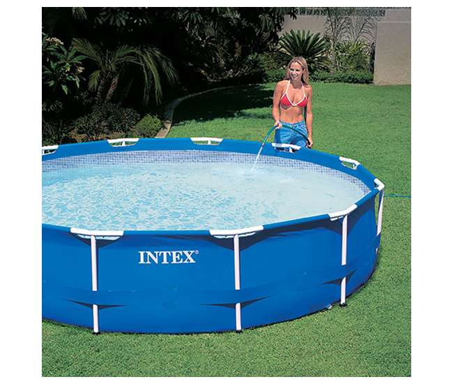 Intex 12 x 2 5 foot metal frame above ground pool and filter 28211eh for 12 ft above ground swimming pools