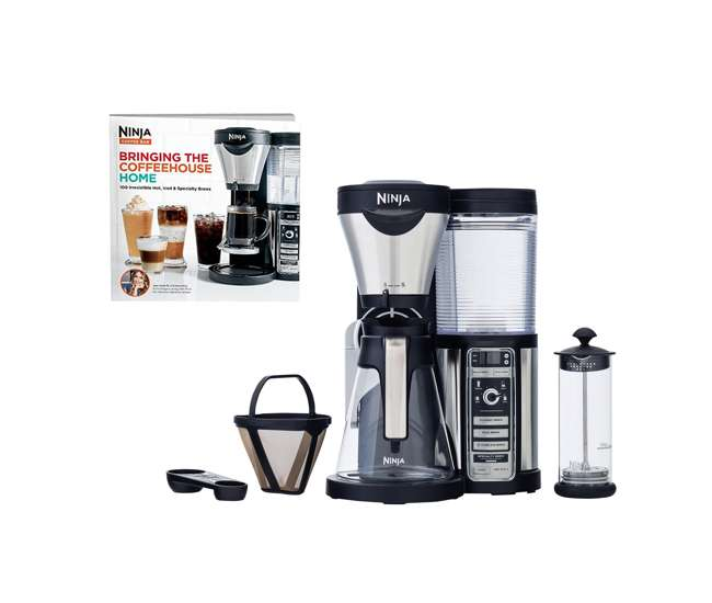 Ninja Coffee Bar Coffee Maker with Glass Carafe and Auto-IQ + 100 Recipe Cook Book : CF080W ...