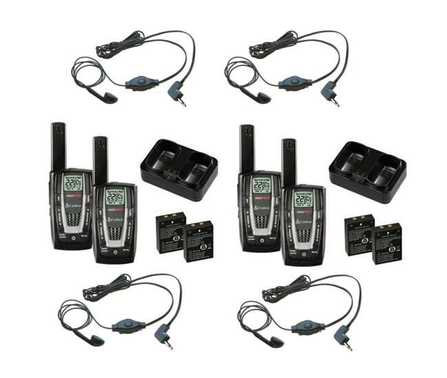 CXR725 + 2 x GA-EBM2-BULK CXR725 - (2) Pair of COBRA 22 Channel FRS/GMRS Walkie Talkie 2-Way Radios + (4) Headsets