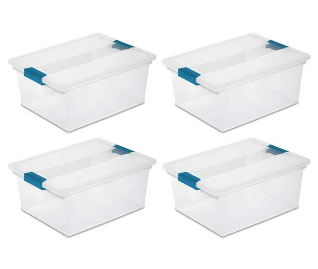 4 x 19658604 4) Sterilite 19658604 Deep File Clip Box Clear Storage Tote Container with Lid