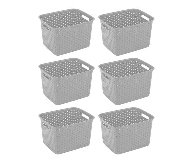 sterilite tall wicker plastic laundry basket cement 6 pack 6 x 12736a06. Black Bedroom Furniture Sets. Home Design Ideas