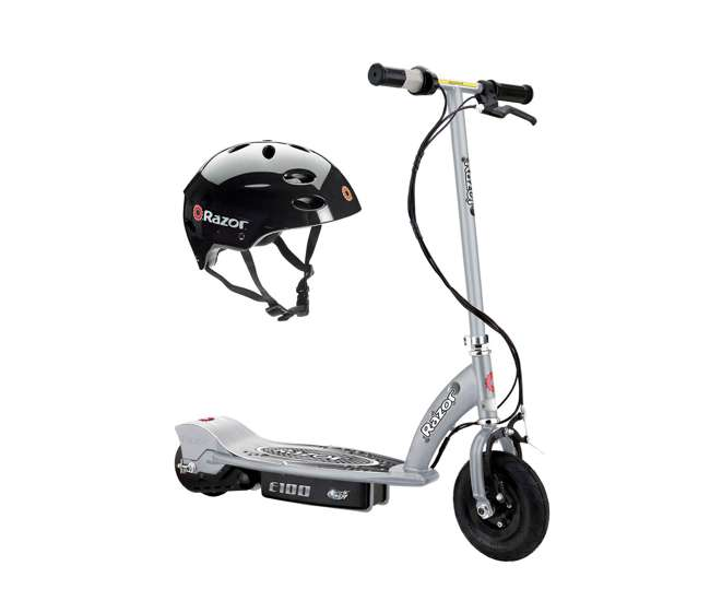 13181112 + 97778 Razor E100 Kids Motorized 24 Volt Electric Powered Ride On Scooter with Helmet