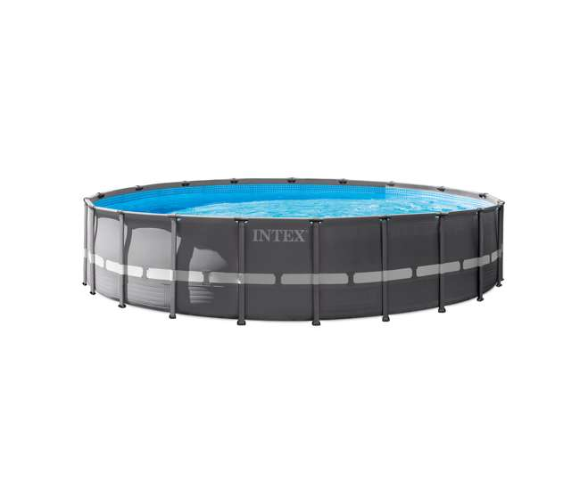 Intex 20 foot round above ground ultra frame pool set with pump 28931t for Intex swimming pools clearance