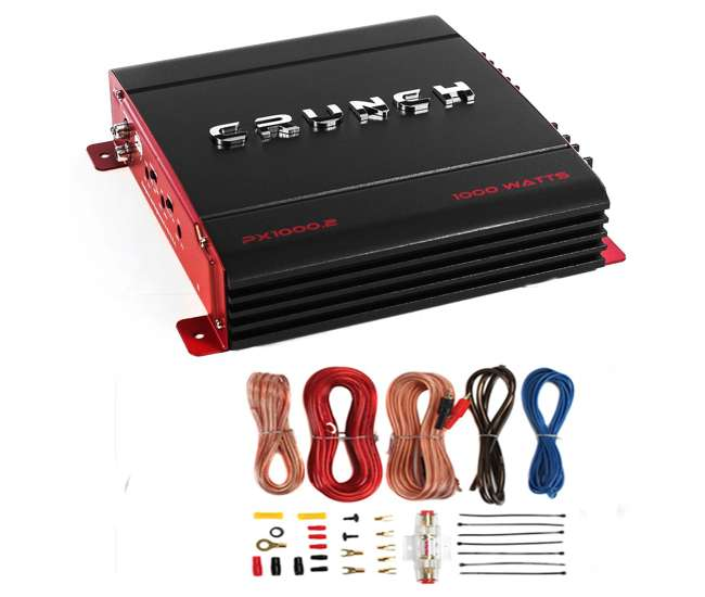PX-1000.4 + AKS8 Crunch PX-1000.4 4 Channel 1000W Amp Stereo Amplifier with Wiring Kit
