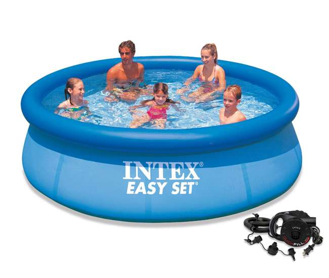 Intex 10 39 X 30 Inch Easy Set Above Ground Swimming Pool With Quick Fill Ac Air Pump 28120eh