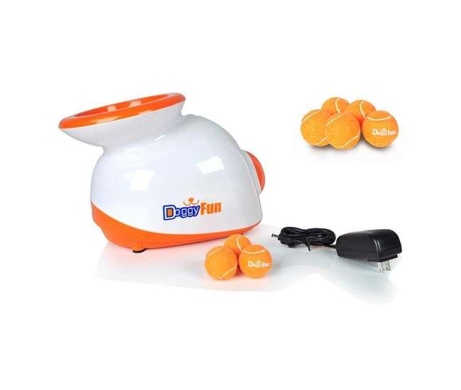 SLDGFN5 + PRTSLDGFBLN6 Pyle Automatic Dog Ball Launcher Fetch Machine with 3 Balls + 5 Replacement Balls