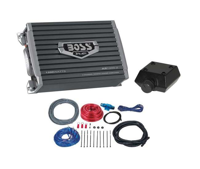 AR12002 + KIT2 Boss AR12002 1200W 2 Channel Amplifier + 8 Gauge Amp Install Kit (Package)
