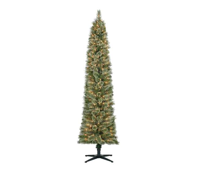 home heritage 7 foot stanley pencil pine slim pre lit christmas tree with clear lights and stand. Black Bedroom Furniture Sets. Home Design Ideas