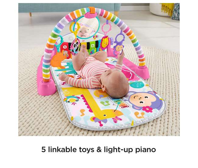 FGG46 Fisher-Price Deluxe Kick 'n Play Musical Piano Gym w/ Soft Mat, Pink (Open Box)