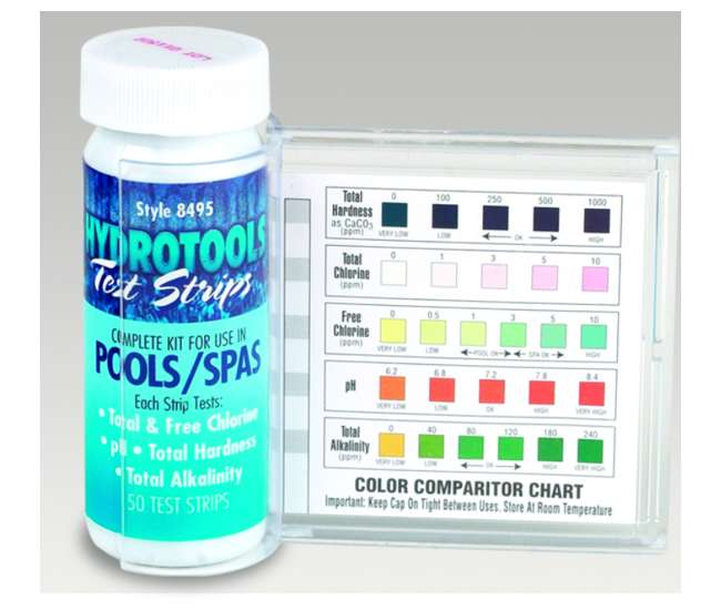 Hydrotools 5 Way Swimming Pool Water Test Strips 50 Tests 8495