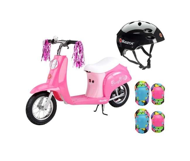 15130659 + 97778 + 96761 Razor Pocket Mod Mini Electric Scooter & Black Helmet & Rainbow Elbow, Knee Pads