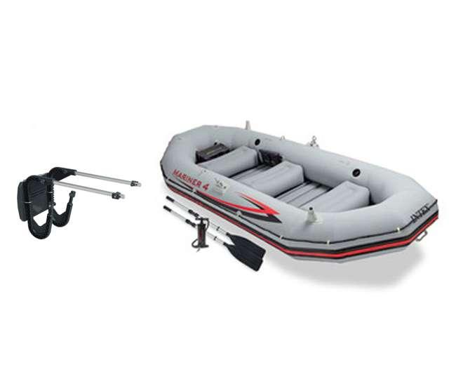 68376EP + 68624E Intex Mariner 4 Inflatable Dinghy Boat Set & Motor Mount Kit