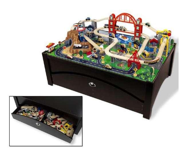 17935 KidKraft Metropolis 100-Piece Wooden Train Table Set
