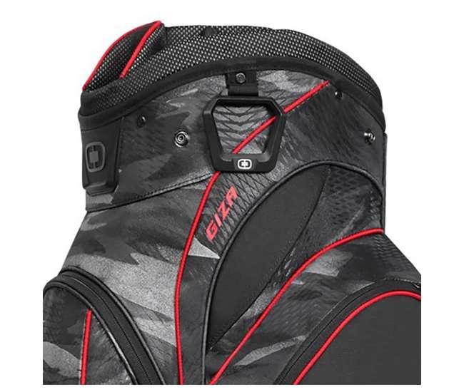 124054-STCR OGIO Stinger 15-Way Top Golf Cart Bag, Urban Camo/Red