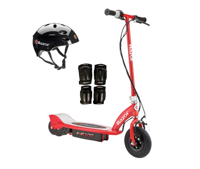 13111260 + 97778 + 96785 Razor E100 Kids Motorized 24 Volt Electric Scooter with Helmet and Safety Pads