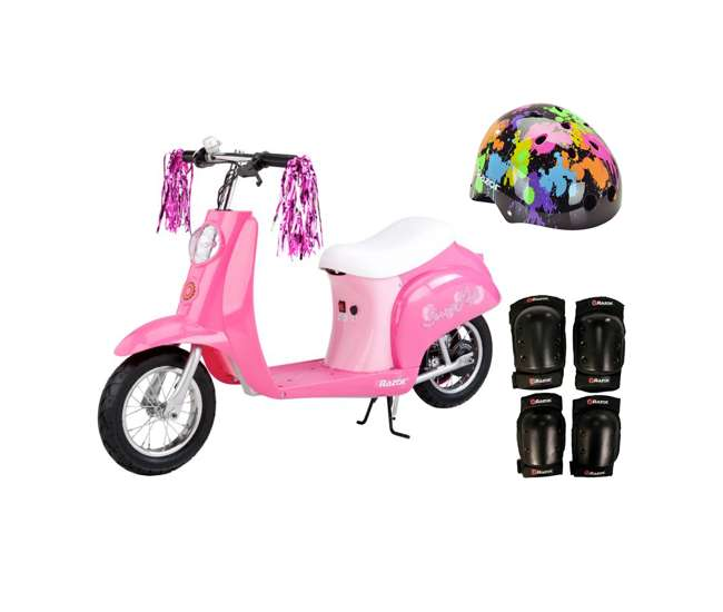 15130659 + 97913 + 96785 Razor Pocket Mod Mini Electric Scooter Bundle with Rainbow Helmet & Safety Pads