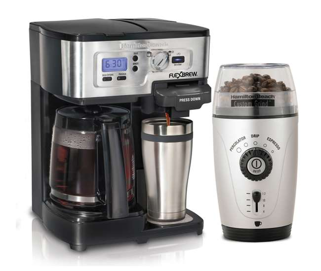 Plumbed Coffee Maker With Grinder : Hamilton Beach 2Way FlexBrew and automatic Grinder 49983 + 80365 : VMInnovations.com