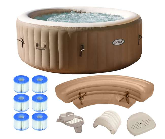 intex pure spa 4 person inflatable portable hot tub ultimate bundle package 28403e 3 x. Black Bedroom Furniture Sets. Home Design Ideas