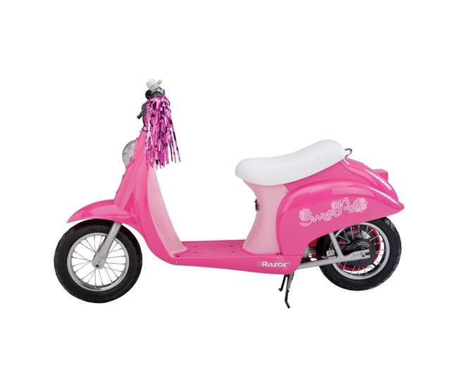 15130659 + 97783 Razor Pocket Mod Electric Sweet Pea Scooter & Youth Helmet (Pink)