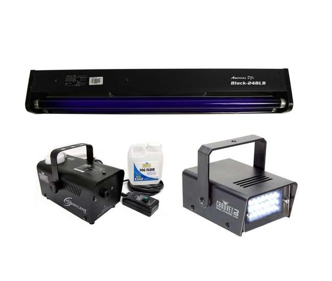"""BLACK-24BLB + MINISTROBE-LED + H700 American DJ BLACK-24BLB 24"""" UV Blacklight + CHAUVET Strobe Light + H700 Fog Machine"""