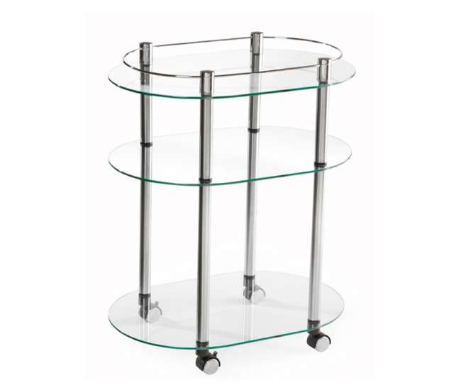 R2-220Accsense Modern Glass Kitchen Bar Rolling Serving Cart