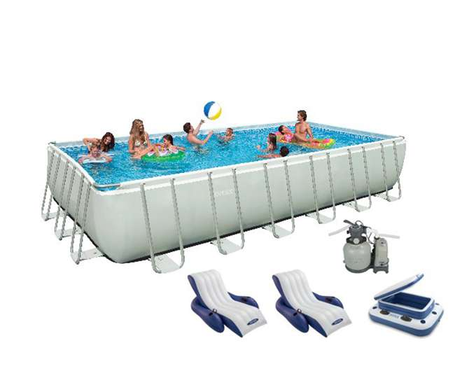 Intex 24 39 x 12 39 x 52 ultra frame rectangular swimming pool set 28363eg 58821ep 2 x for Intex rectangular swimming pool