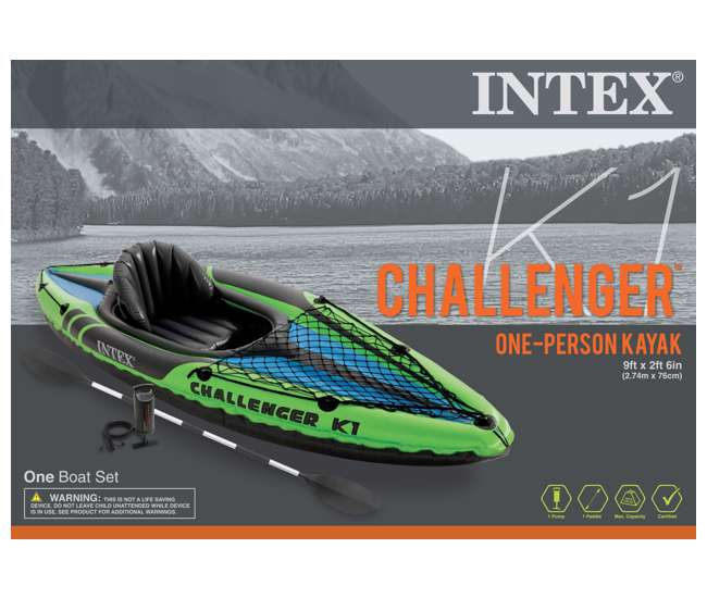 68305EP Intex Challenger K1 1-Person Inflatable Kayak With Oars And Pump