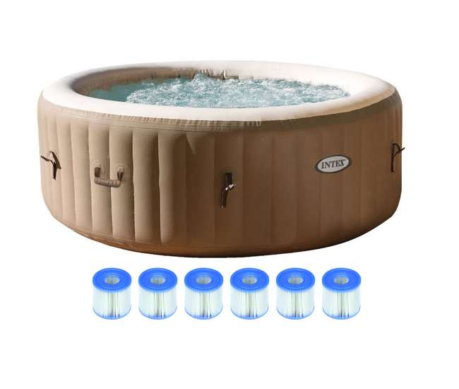 intex pure spa 4 person inflatable portable hot tub with six filter cartridges 28403e 3 x. Black Bedroom Furniture Sets. Home Design Ideas
