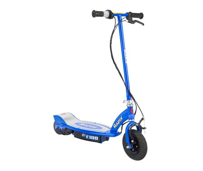 13125E-BK + 13111240 Razor Electric Motorized Kids Scooters, 1 Black & 1 Blue