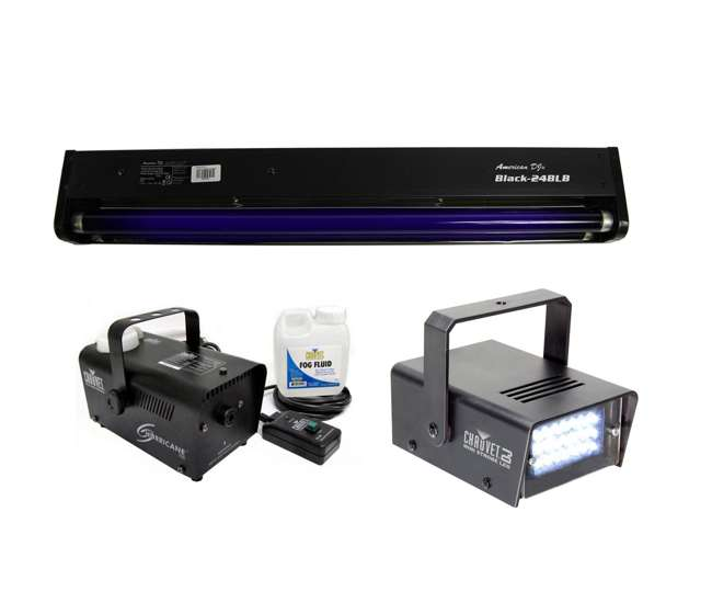 "BLACK-24BLB + MINISTROBE-LED + H700 American DJ BLACK-24BLB 24"" UV Blacklight + CHAUVET Strobe Light + H700 Fog Machine"