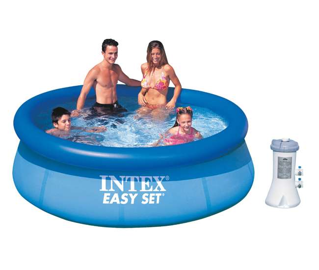 Intex 8 39 x 30 easy set inflatable above ground pool with for Inflatable above ground pools