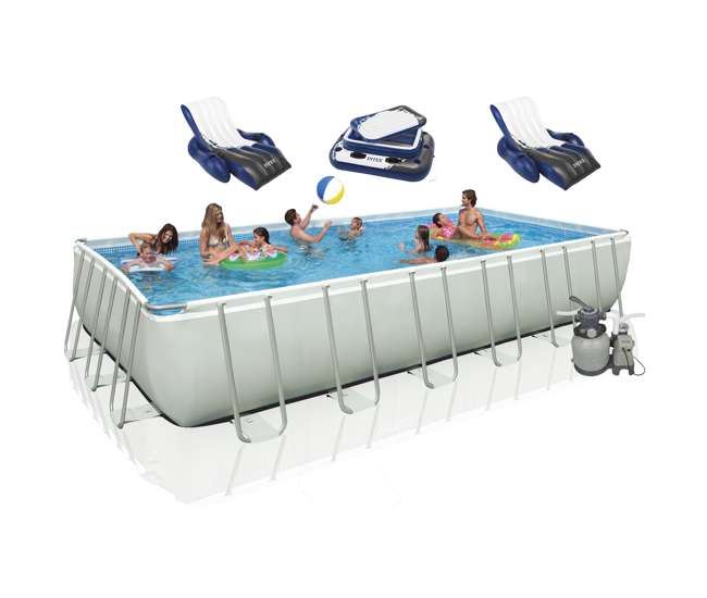 Intex 24 39 X 12 39 X 52 Ultra Frame Rectangular Swimming Pool Set 28361eh 2 X 58868ep