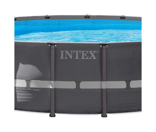 Intex 20 foot round above ground ultra frame pool set with for Intex pool handler