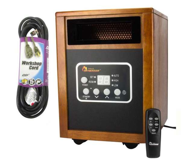 DR-968 + 035363323 Dr. Infrared Heater DR-968 1500 Watt Electric Quartz Portable Heater + 15' Cord