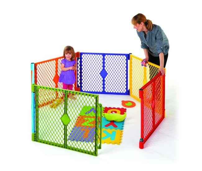 8769 + 8762 North States Color Superyard Baby/Pet Gate & Portable Play Yard - 8 Panel