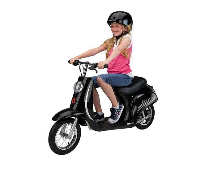 15130601 + 97778 Razor Pocket Mod Electric Retro Scooter, Black (2 Pack) + Helmet