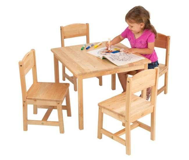 21421KidKraft Farmhouse Table & 4 Chairs Set (Birch Wood)